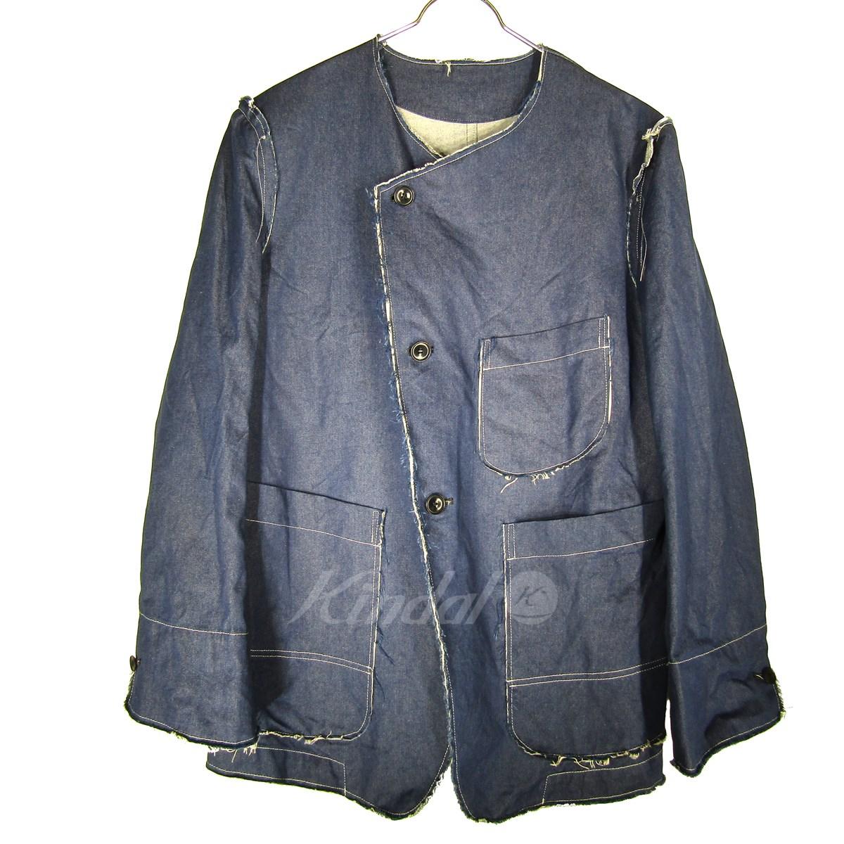 【中古】SULVAM 16SS No Collar Jacket ノーカラーデニムジャケット カットオフ インディゴ サイズ:M 【送料無料】 【080419】(サルバム)