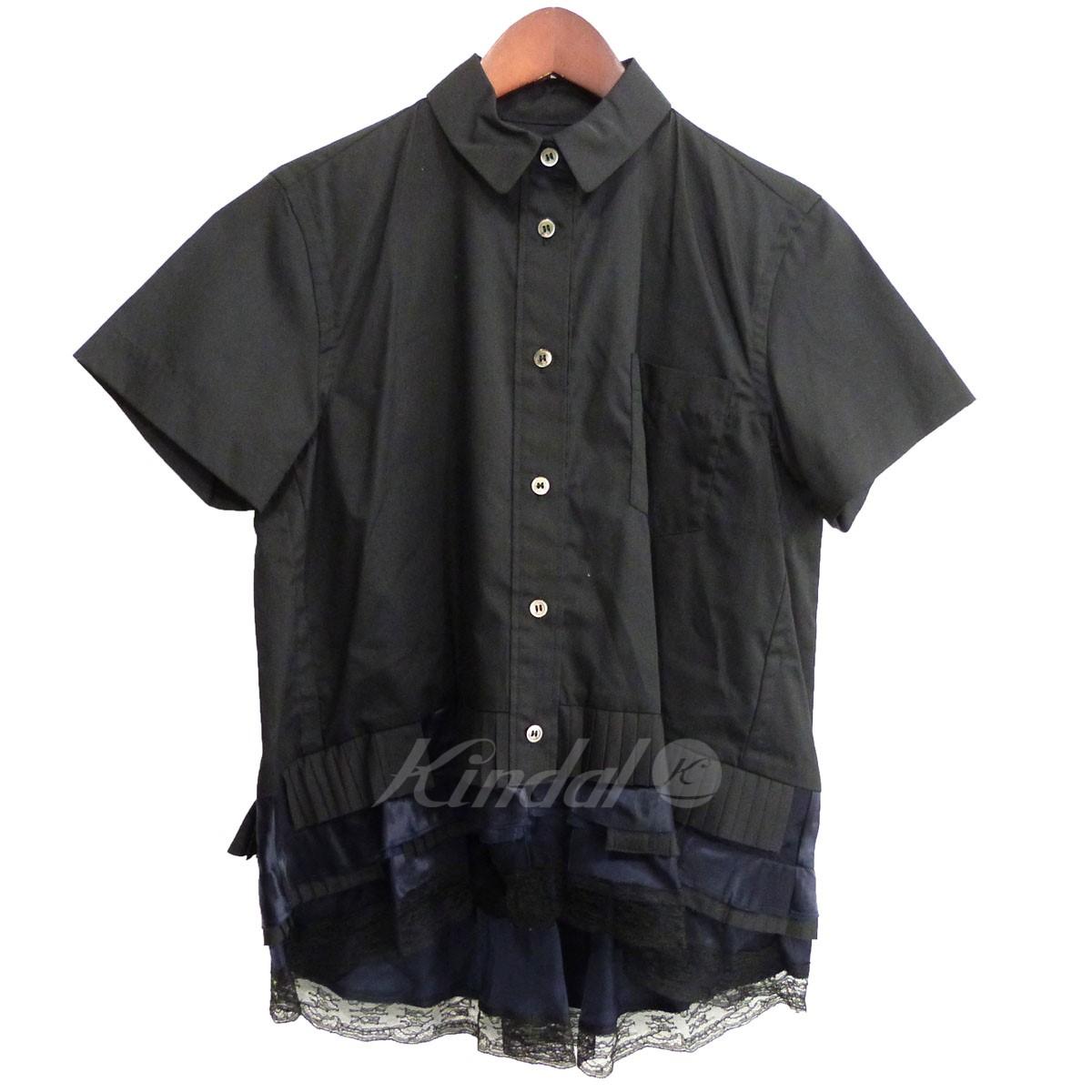 【中古】sacai 裾レースブラウス ブラック サイズ:1 【送料無料】 【080419】(サカイ)