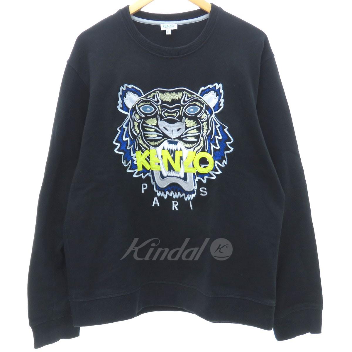 【中古】KENZO 18AW/TIGER FACE CREW SWEAT タイガー刺繍スウェット ブラック サイズ:XL 【送料無料】 【080419】(ケンゾー)