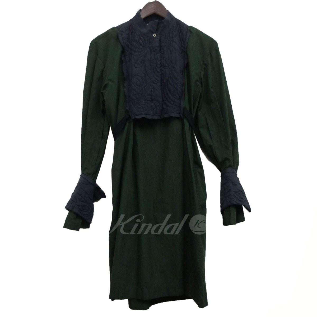 【中古】sacai フロント刺繍シャツワンピース グリーン サイズ:2 【送料無料】 【080419】(サカイ)