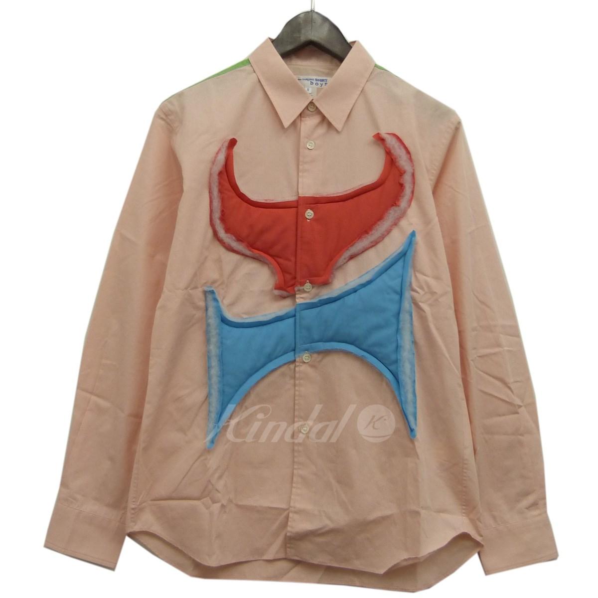 【中古】COMME des GARCONS SHIRT boys 18AW 中綿フロントデザインシャツ ライトピンク サイズ:M 【送料無料】 【080419】(コムデギャルソン シャツ ボーイズ)
