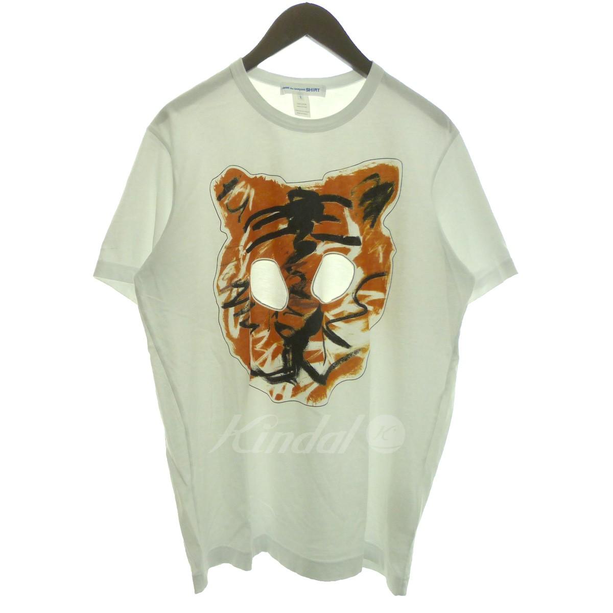 【中古】COMME des GARCONS SHIRT 19SS プリント加工Tシャツ ホワイト サイズ:X 【090419】(コムデギャルソンシャツ)
