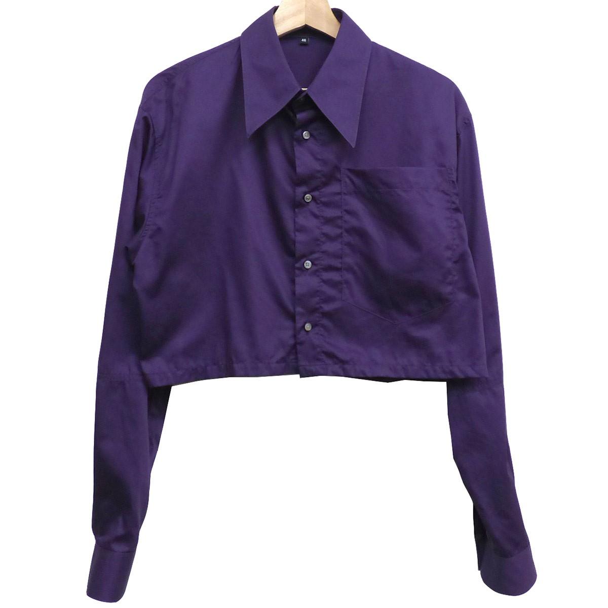 【中古】XANDER ZHOU 17AW Short Length L/S Shirtショート丈シャツ パープル サイズ:46 【送料無料】 【080419】(サンダーゾウ)