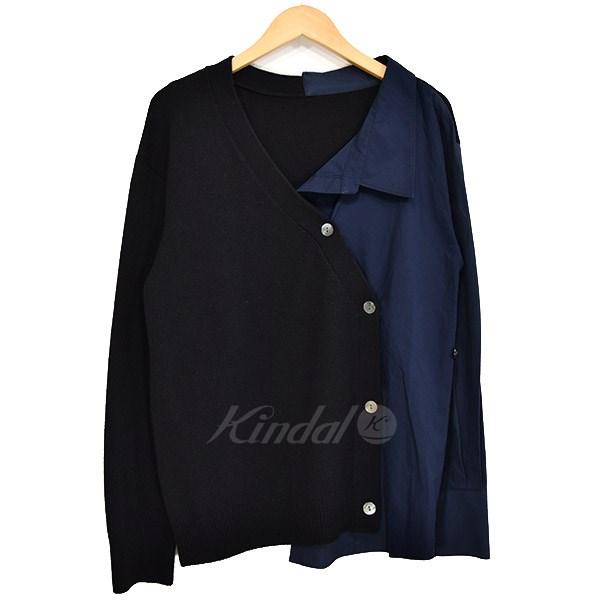 【中古】LE CIEL BLEU Shirt Paneled Cardigan 異素材切替カーディガン 2019SS ブラック×ネイビー サイズ:36 【090419】(ルシェルブルー)