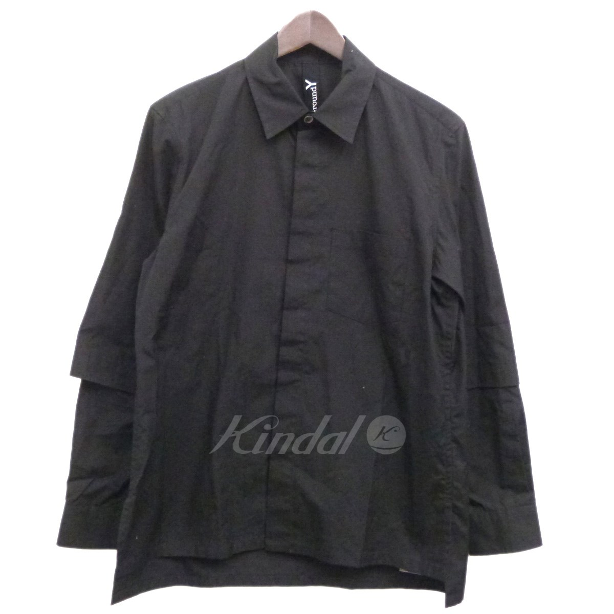 【中古】GROUND Y 18SS袖レイヤードシャツ ブラック サイズ:1 【090419】(グランド ワイ)