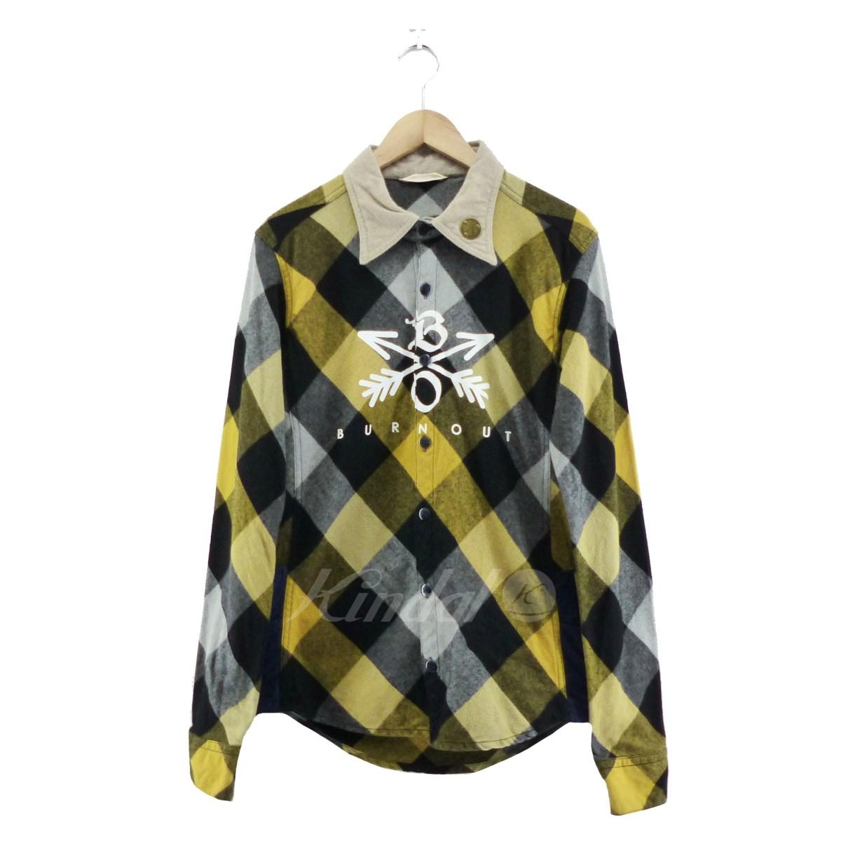 【中古】BURN OUT Crossed arrows checked shirt イエロー×グレー サイズ:M 【送料無料】 【100419】(バーンアウト)