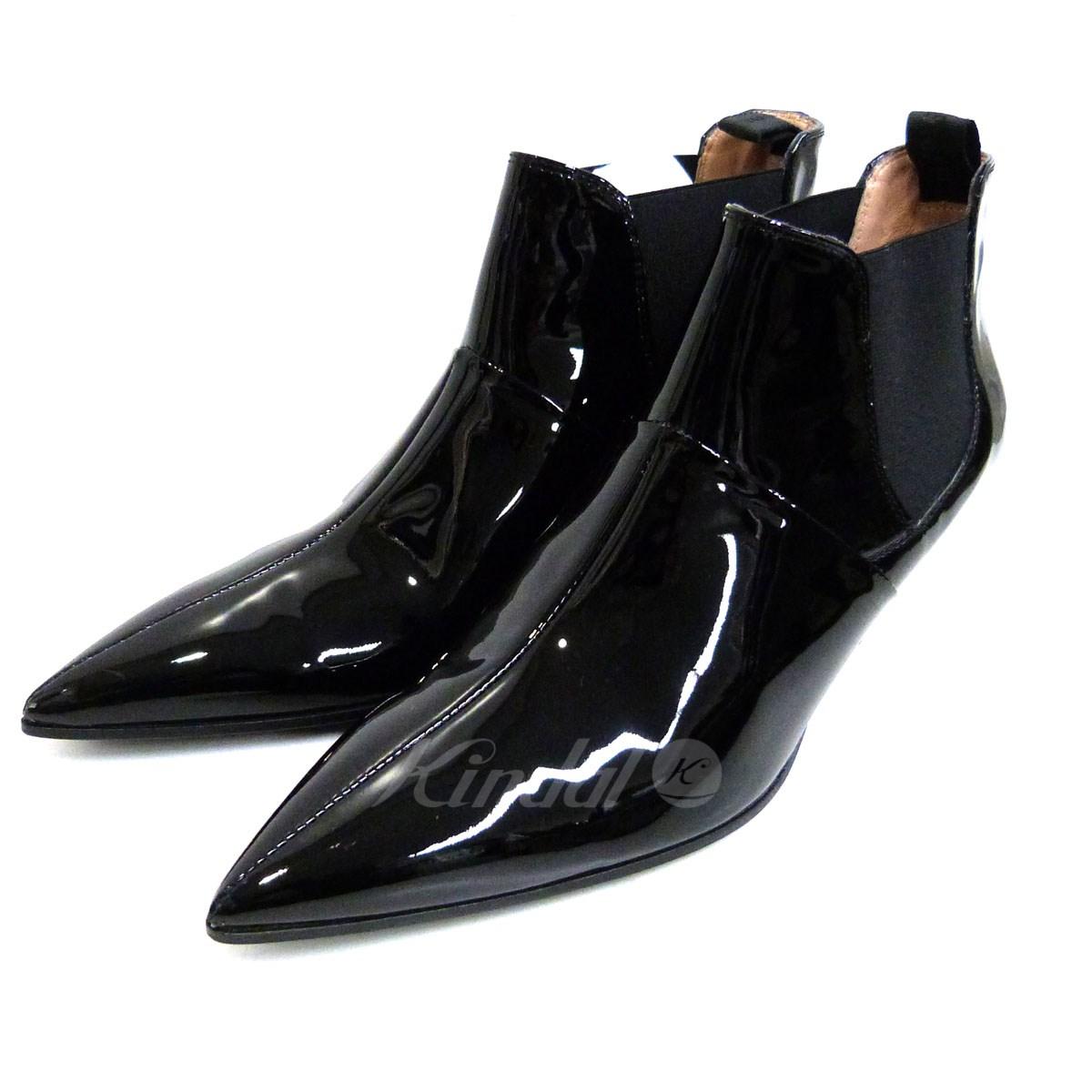 【中古】ACNE STUDIOS 18SS 「Kytti Pants」パテントショートブーツ ブラック サイズ:37 【送料無料】 【100419】(アクネストゥディオズ)