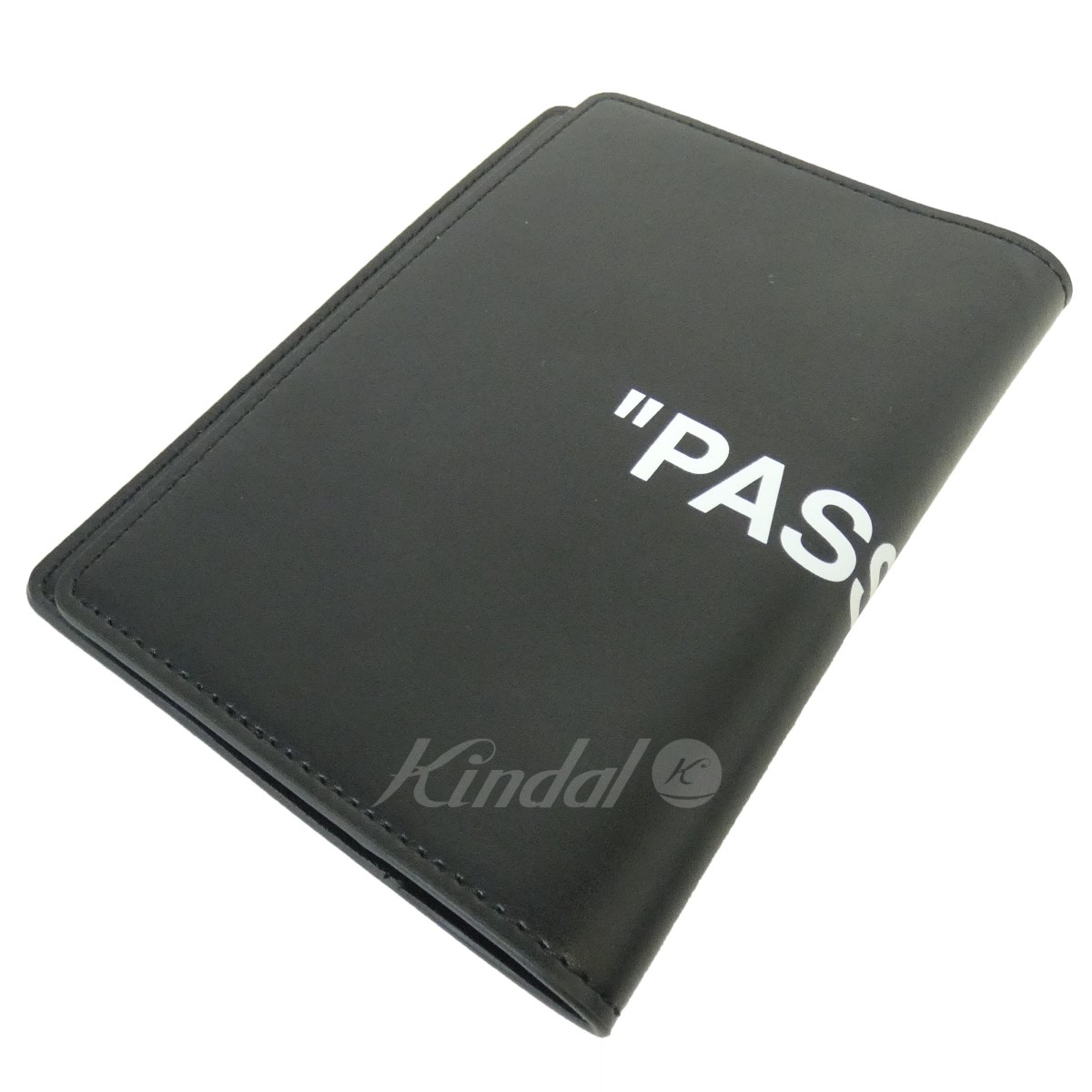 【中古】OFF WHITE 「QUOTE PASSPORT WALLET」 レザーパスポートケース ブラック サイズ:0/S 【100419】(オフホワイト)
