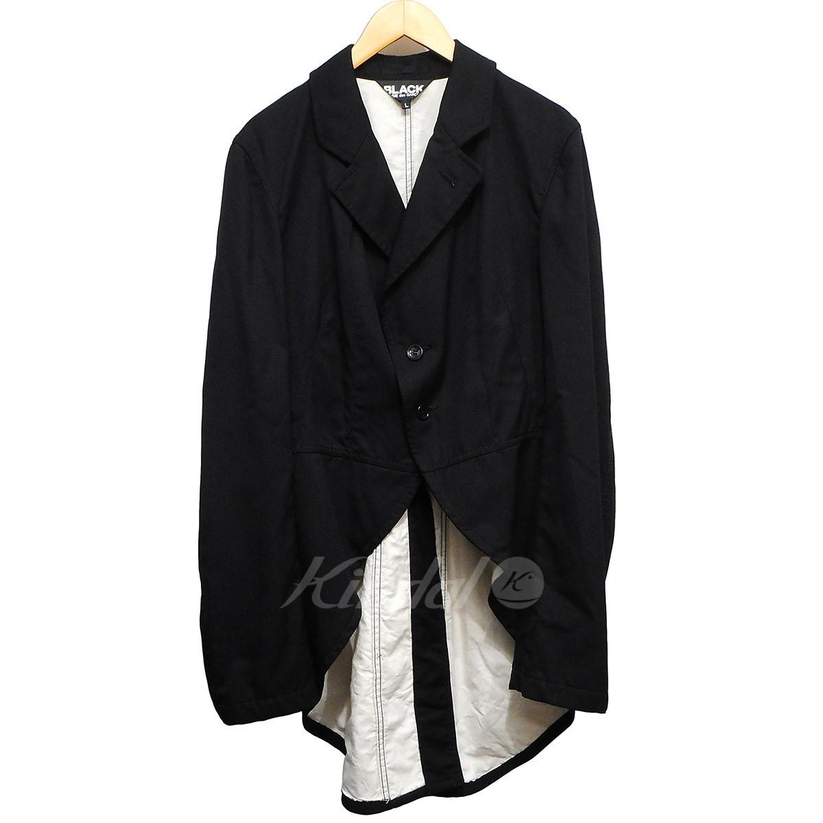 【中古】BLACK COMME des GARCONS ウールギャバ燕尾ロングジャケット ブラック サイズ:L 【160419】(ブラックコムデギャルソン)