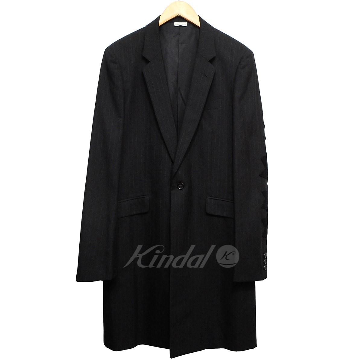 【中古】COMME des GARCONS HOMME PLUS AD2006 袖刺繍ピンストライプロングジャケット ブラック サイズ:S 【160419】(コムデギャルソンオムプリュス)