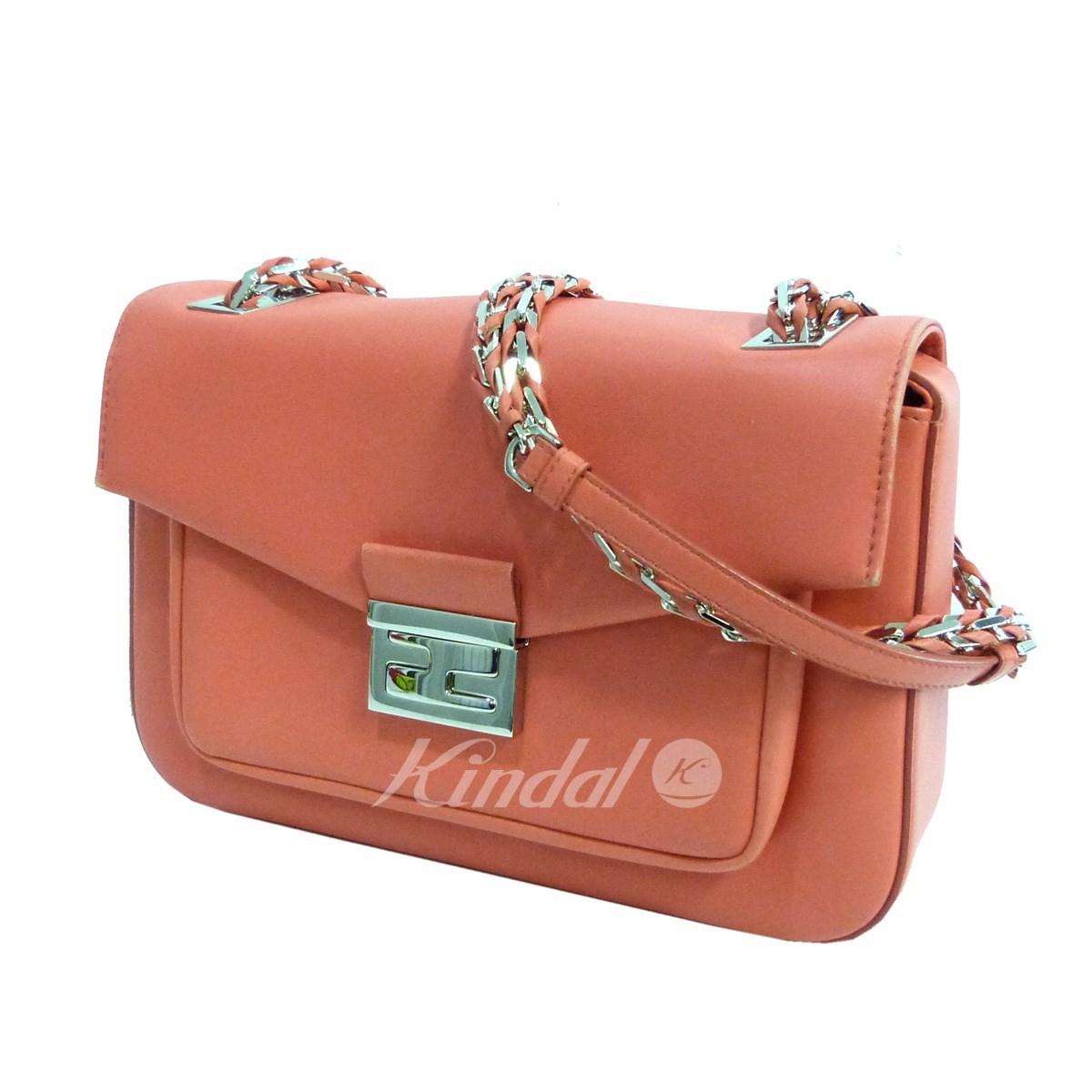 【中古】FENDI 「バゲット」 レザーショルダーバッグ ピンクオレンジ サイズ:- 【送料無料】 【180419】(フェンディ)