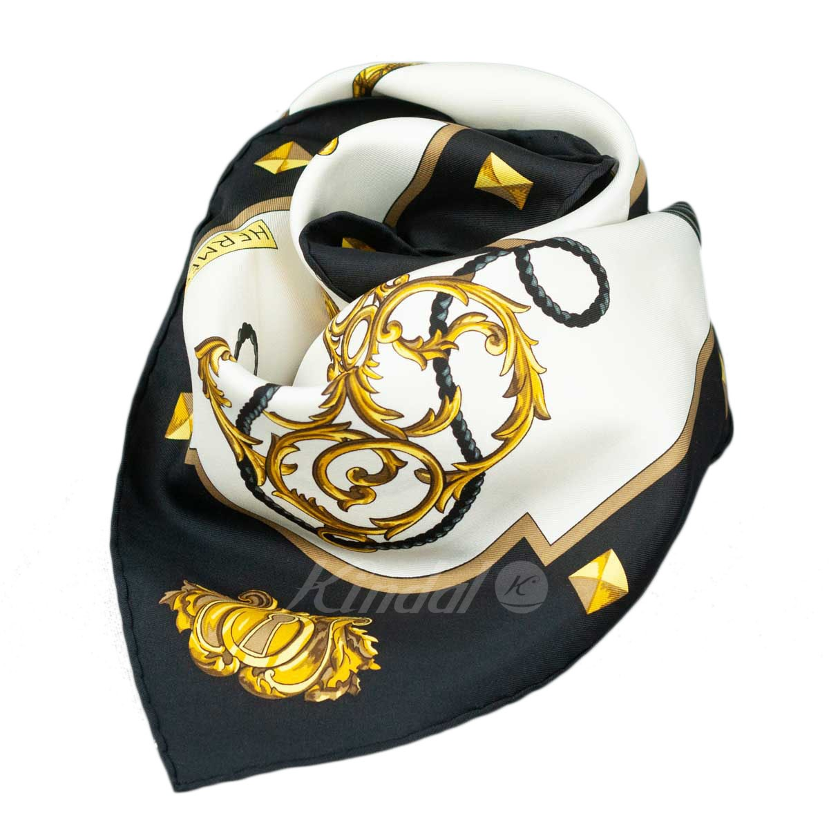 【中古】HERMES カレ90 LES CLES(鍵柄)ホワイト×ブラック スカーフ ホワイト×ブラック 【送料無料】 【170419】(エルメス)