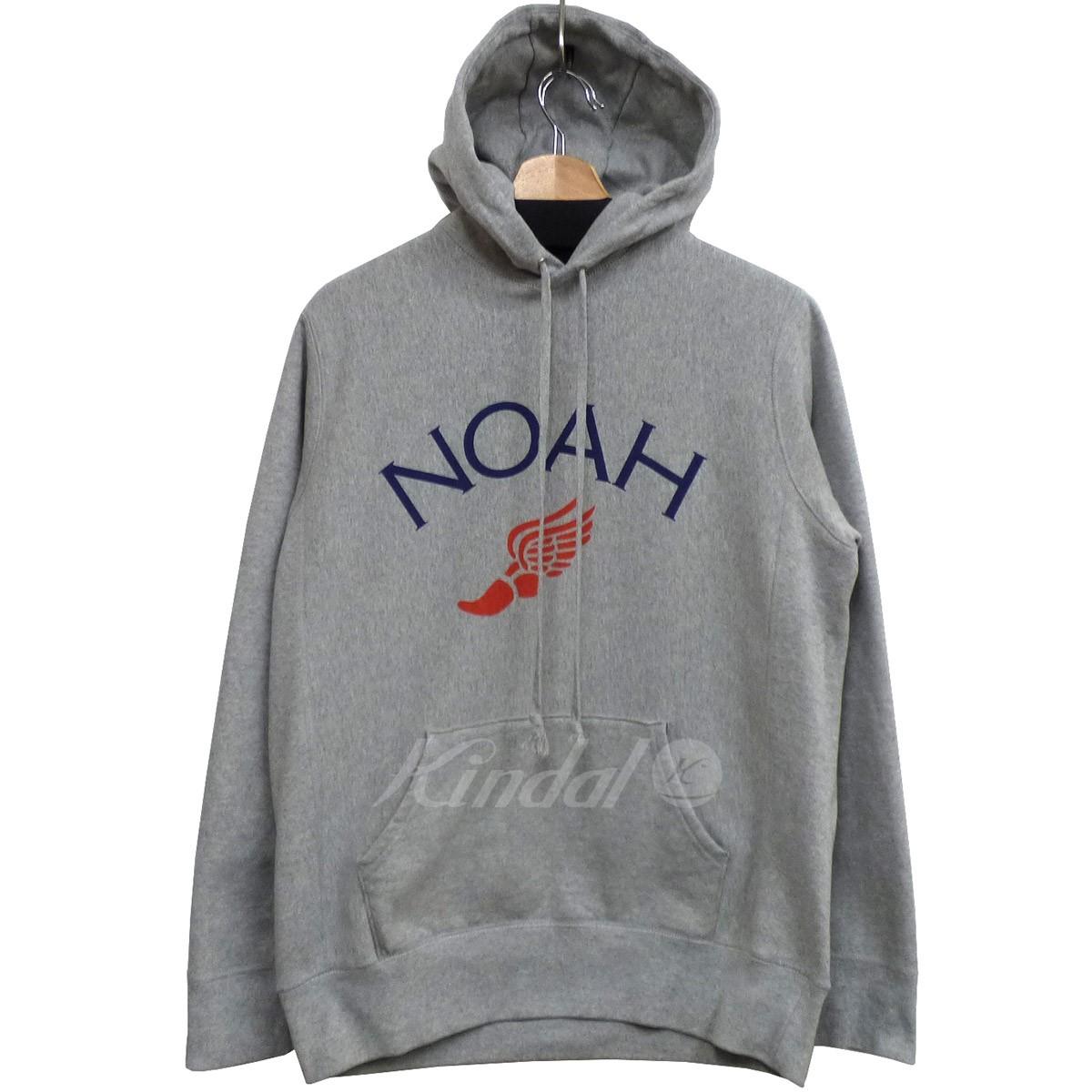 【中古】NOAH Winged Foot Hoodieロゴフーディーパーカー グレー サイズ:M 【170419】(ノア)