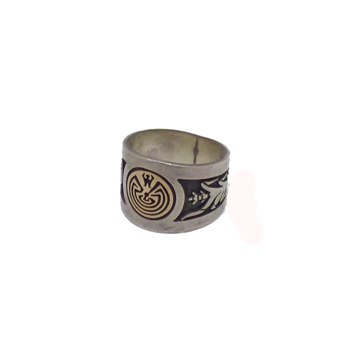 Edison Wasworth Hopi Maze Ring Overlay 14k Silver Size 22 Boos Worth