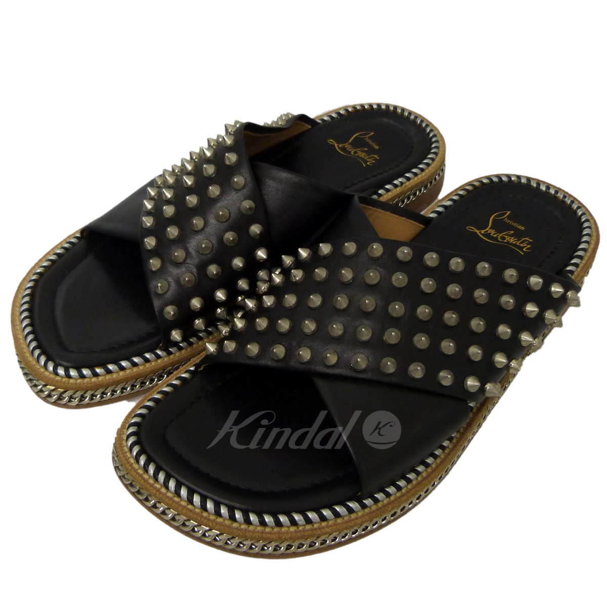 timeless design b1b03 086c2 CHRISTIAN LOUBOUTIN studs chain sandals black size: 39 (クリスチャンルブタン)