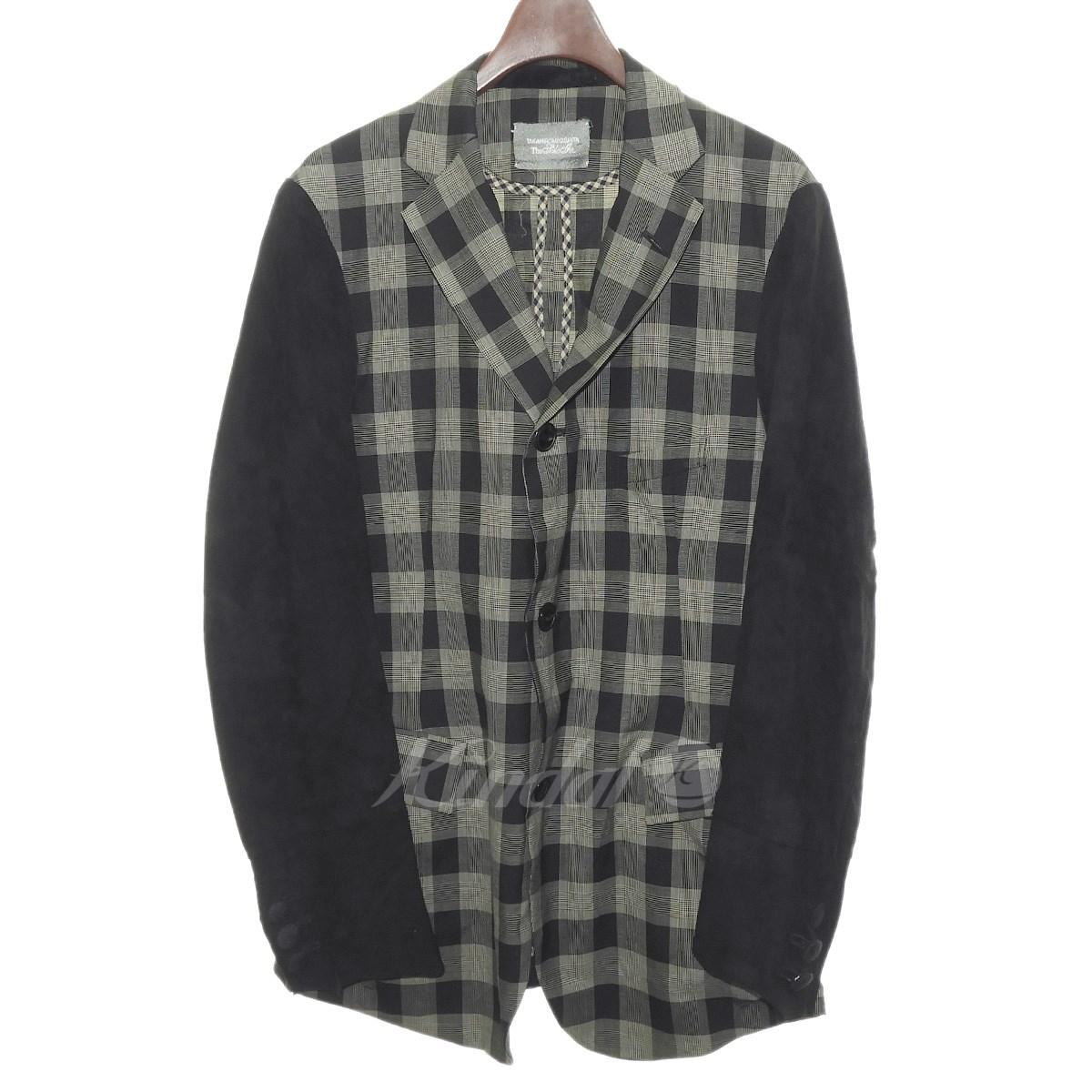 【中古】TAKAHIROMIYASHITA TheSoloIst.スウェードスリーブチェックジャケット ブラック サイズ:M
