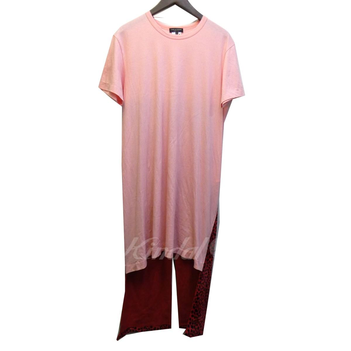 【中古】COMME des GARCONS HOMME PLUS 18SS レオパードドッキングロングTシャツ ピンク×レッド×ブラック サイズ:S 【220419】(コムデギャルソンオムプリュス)