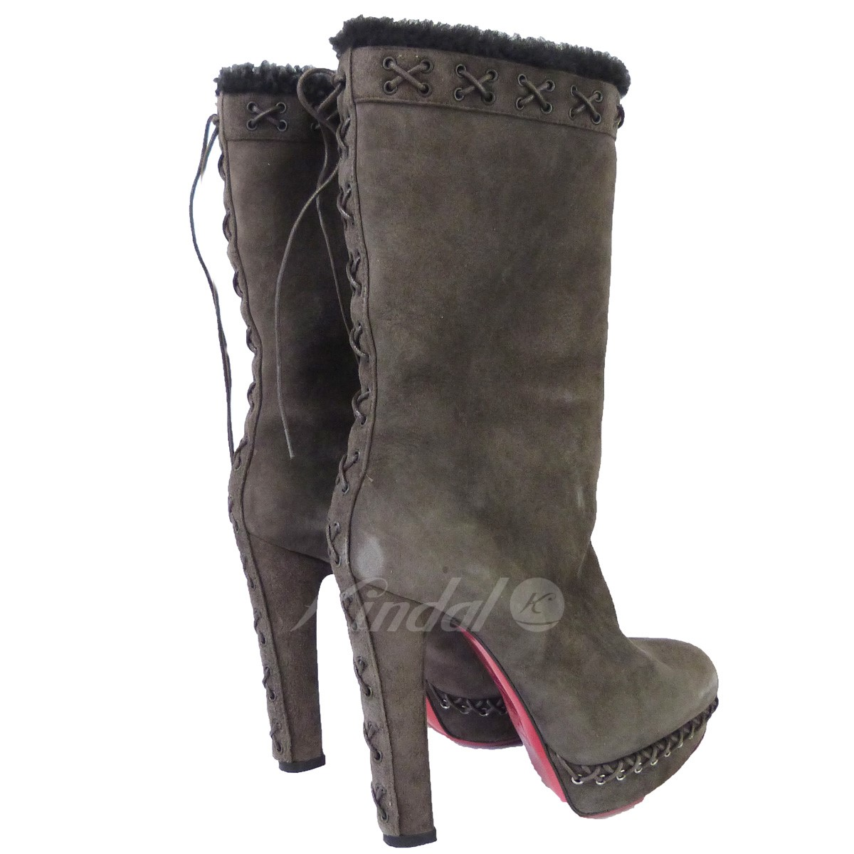 timeless design cb1ab 8ca04 CHRISTIAN LOUBOUTIN mouton heel boots brown size: 36 (クリスチャンルブタン)