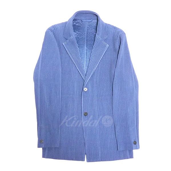 【中古】HOMME PLISSE ISSEY MIYAKE 2019SS プリーツ ジャケット ブルー サイズ:3 【送料無料】 【240419】(オム プリッセ イッセイ ミヤケ)