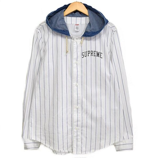 【中古】SUPREME Denim Hooded Baseball Shirt フーデッドベースボールシャツ 2014AW ホワイト×インディゴ サイズ:S 【240419】(シュプリーム)