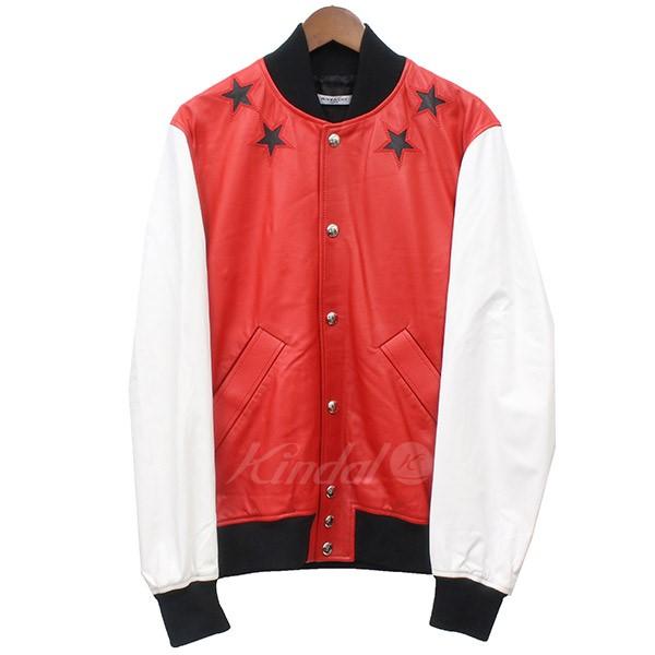 【4月8日 お値段見直しました】【中古】GIVENCHY2015SS Star Patch Lether Jacket レザー スタジャン ブルゾン ホワイト×レッド サイズ:44