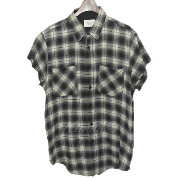 【中古】FEAR OF GOD 3rd Collection ノースリーブフランネルチェックシャツ グレー サイズ:M 【250419】(フィアーオブゴッド)