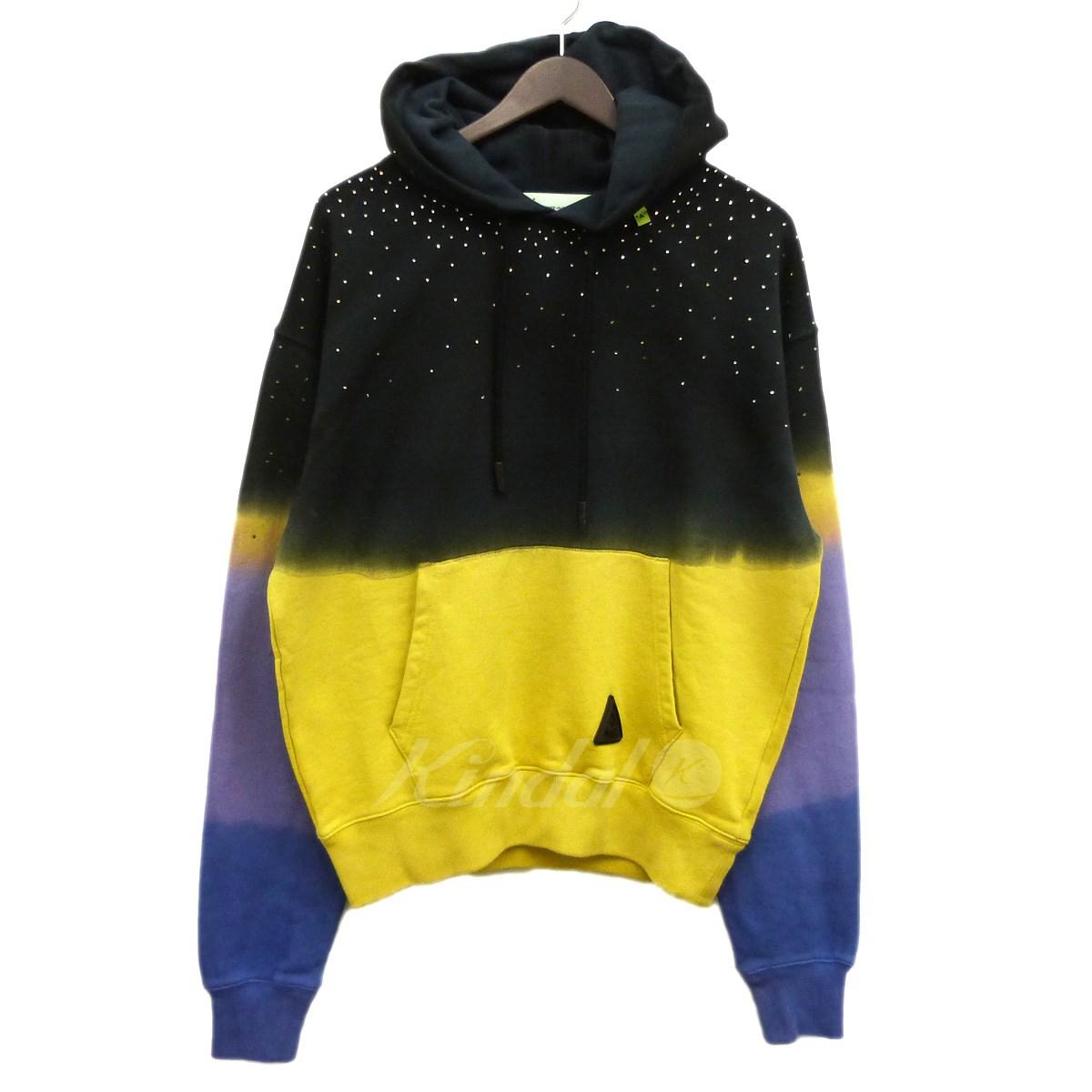 【中古】OFFWHITE 19SS「ombre effect hoodie」グラデーションプルオーバーパーカー ブラック×パープル×イエロー サイズ:XS 【250419】(オフホワイト)