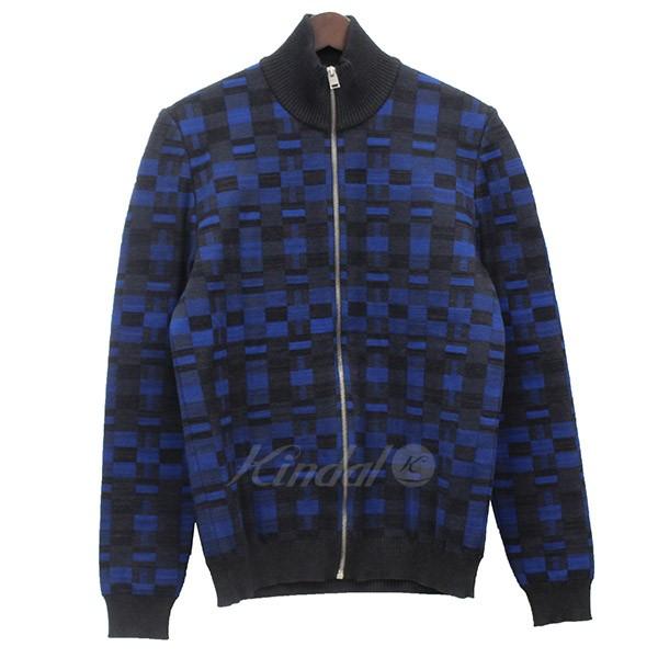 【4月8日 お値段見直しました】【中古】BALENCIAGA総柄 ZIPUP ブルゾン ジャケット ブルー×チャコールグレー サイズ:S