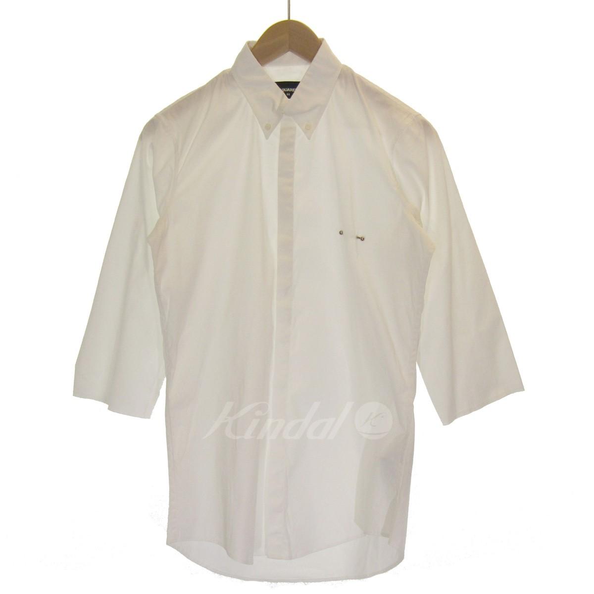 【中古】DSQUARED2 5分袖ボタンダウンシャツ ホワイト サイズ:44 【260419】(ディースクエアード)