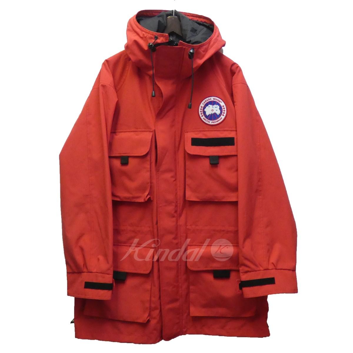 【中古】JUNYA WATANABE CdG MAN × CANADA GOOSE 18AW「Harbour Jacket」ハーバージャケット レッド サイズ:L 【送料無料】 【270419】(ジュンヤワタナベコムデギャルソンマン カナダグース)