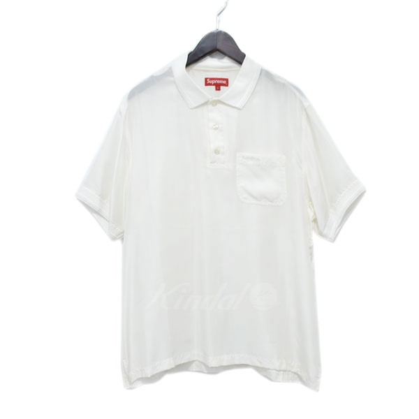 【中古】SUPREME 17SS シルクポロシャツ SILK POLO ホワイト サイズ:L 【280419】(シュプリーム)