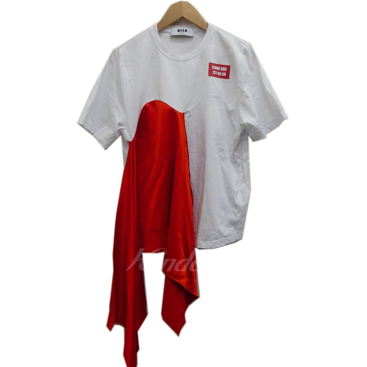 【中古】MSGM scarf detail T shirt 2018SS ホワイト×レッド サイズ:S 【280419】(エムエスジーエム)