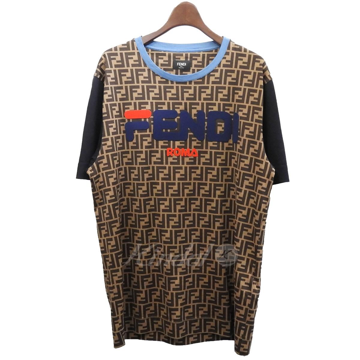【中古】FENDI×FILA 「FENDI Mania Logo Tee」フェンディマニアロゴTシャツ ブラウン サイズ:XS 【030519】(フェンディ フィラ)