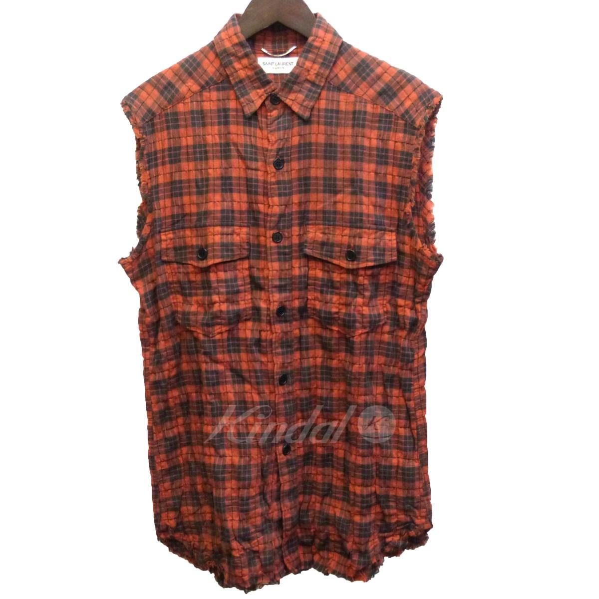 【中古】SAINT LAURENT PARIS 16SS ノースリーブカットオフチェックシャツ オレンジ×ブラック サイズ:S 【040519】(サンローランパリ)