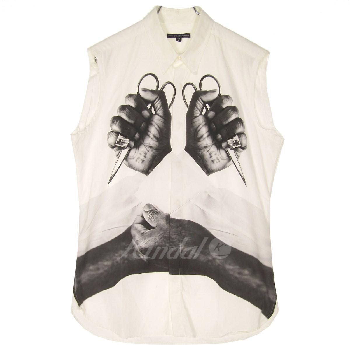 【中古】AVEC CES FRERES BY ART COMES FIRST ノースリーブプリントシャツ ホワイト サイズ:38/51 【060519】(アベック セ フレール バイ アートカムズ ファースト)