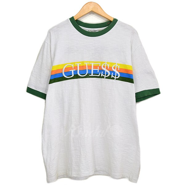 GUESS X ASAP ROCKY ray Sapp Rocky RINGER TEE 2017SS white X green size: L (ゲス)