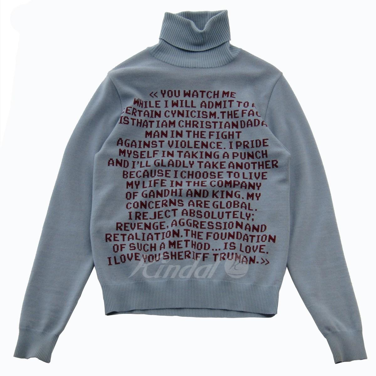 【中古】CHRISTIAN DADA Quotes Jacquard Turtleneck Knit Sweater タートルネックニット ブルー サイズ:44 【100519】(クリスチャンダダ)