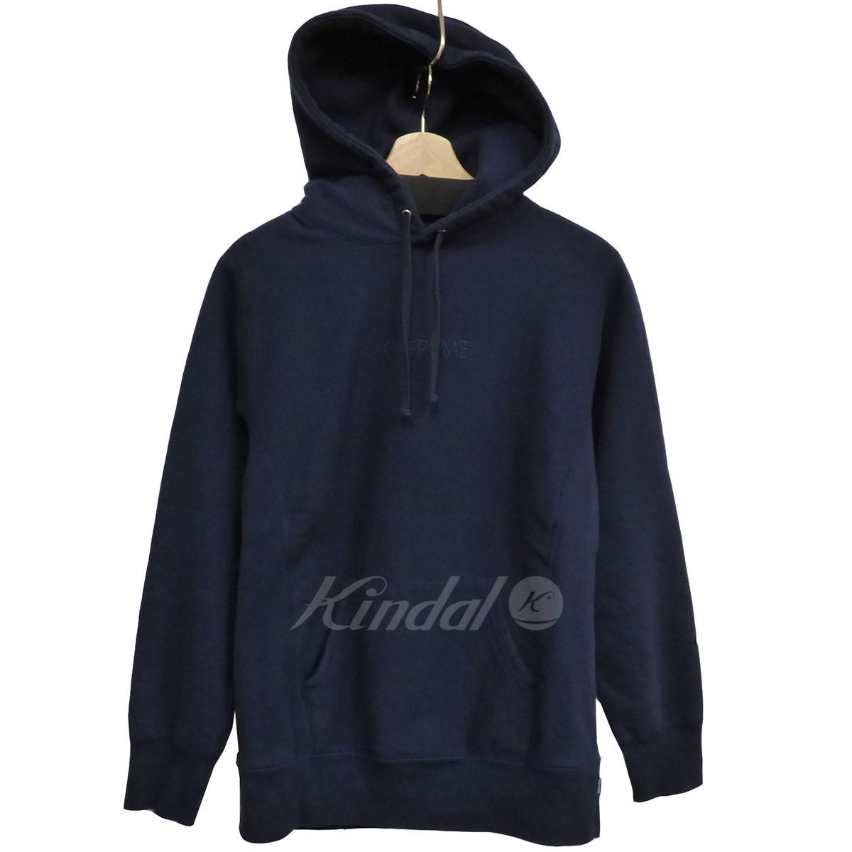 【中古】SUPREME 15AW Tanal Embroidered Hooded Sweatshirtフーディー ネイビー サイズ:S 【100519】(シュプリーム)