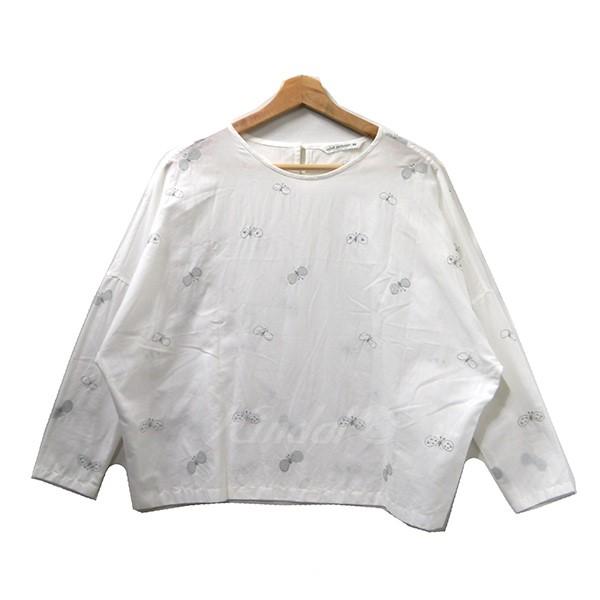 【中古】mina perhonen choucho 刺繍プルオーバーブラウス シャツ ua1816 ホワイト サイズ:36 【100519】(ミナペルホネン)
