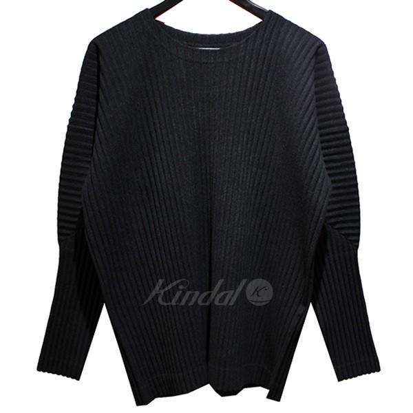 【中古】HOMME PLISSE ISSEY MIYAKE 2019SS プリーツ ロングTシャツ ブラック サイズ:2 【100519】(オム プリッセ イッセイ ミヤケ)