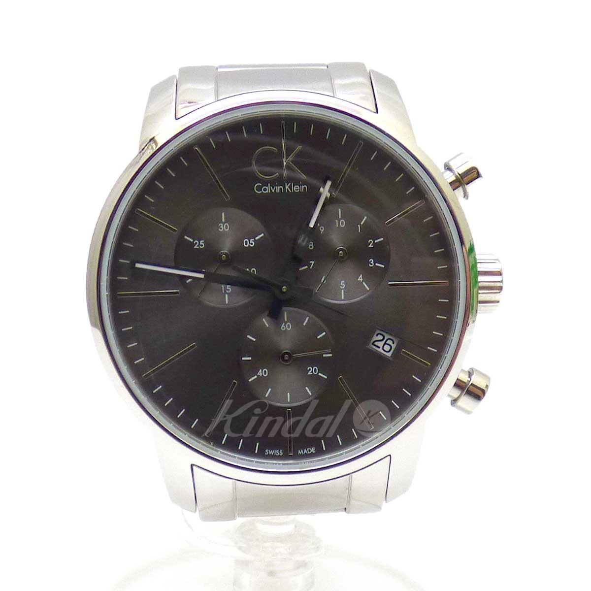 【中古】CALVIN KLEIN City Chorono クロノ腕時計 ブラック×シルバー 【送料無料】 【110519】(カルバンクライン)