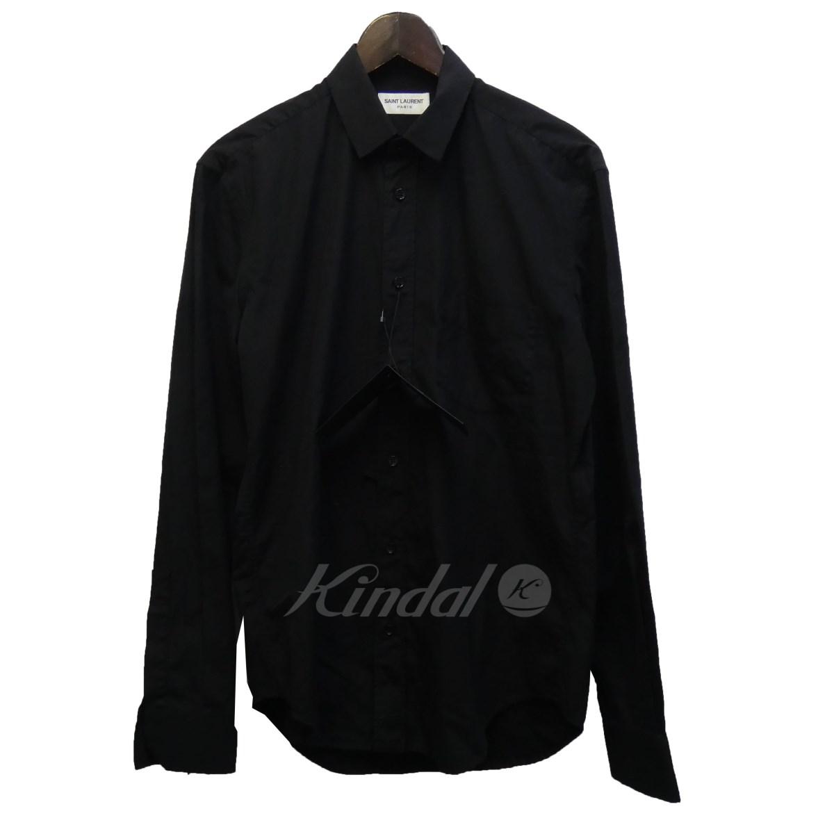 【中古】SAINT LAURENT PARIS 16SS 411620 ダメージ加工シャツ ブラック サイズ:37 【110519】(サンローランパリ)