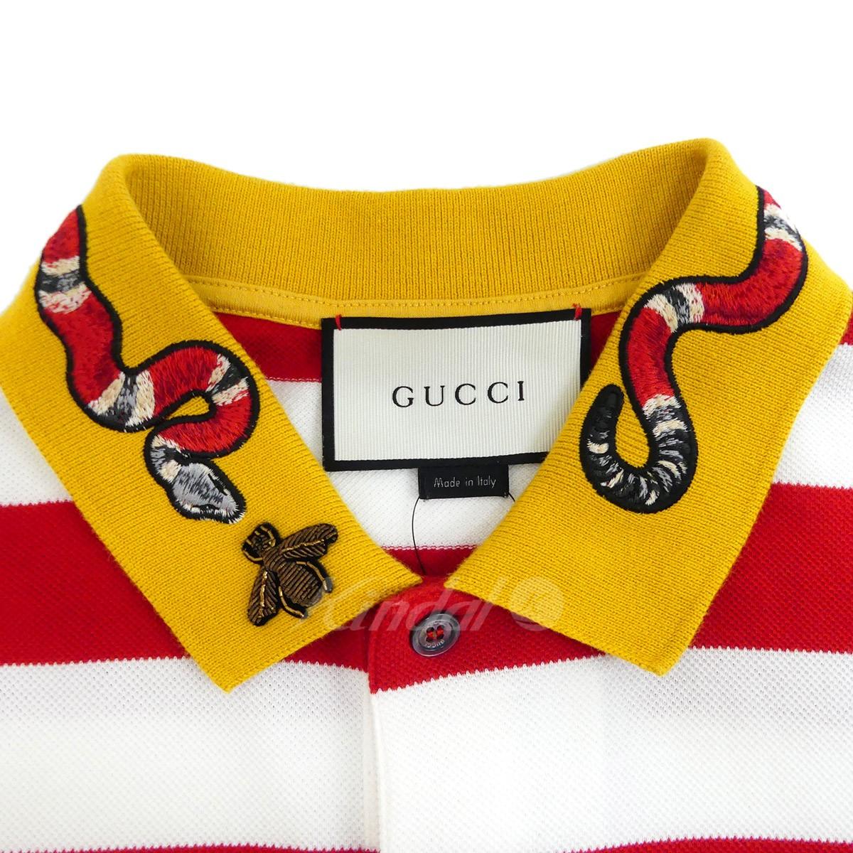 7e04abe4 ... GUCCI horizontal stripe fawn polo shirt 2016SS snake embroidery red X  white size: L ...
