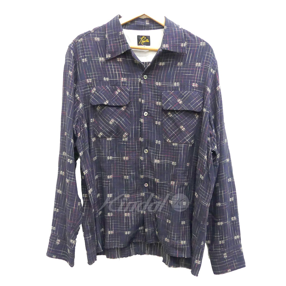 【中古】Needles オープンカラーシャツ Classic Shirt Rayon Dobby Plaid 2018SS ネイビー サイズ:M 【120519】(ニードルス)