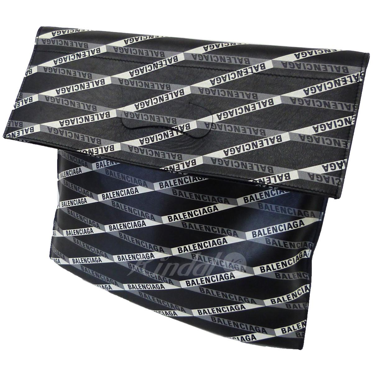 【中古】BALENCIAGA ロゴプラスティックショッパー&クラッチバッグ ブラック 【120519】(バレンシアガ)