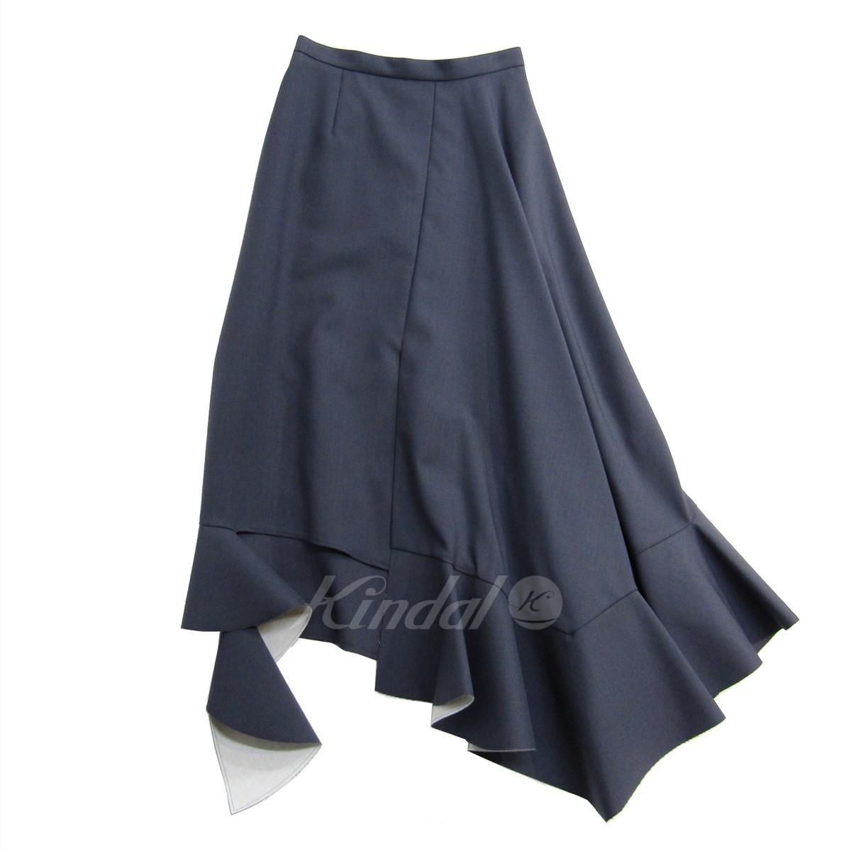 【中古】IRENE 2018AW One Side Flare Skirt アシンメトリーフレアスカート グレー サイズ:34 【120519】(アイレネ)