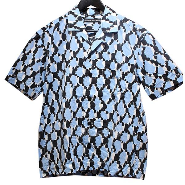 【中古】ISSEY MIYAKE MEN 2019SS 開襟シャツ 総柄シャツ ブルー×ブラック サイズ:1 【120519】(イッセイミヤケ)