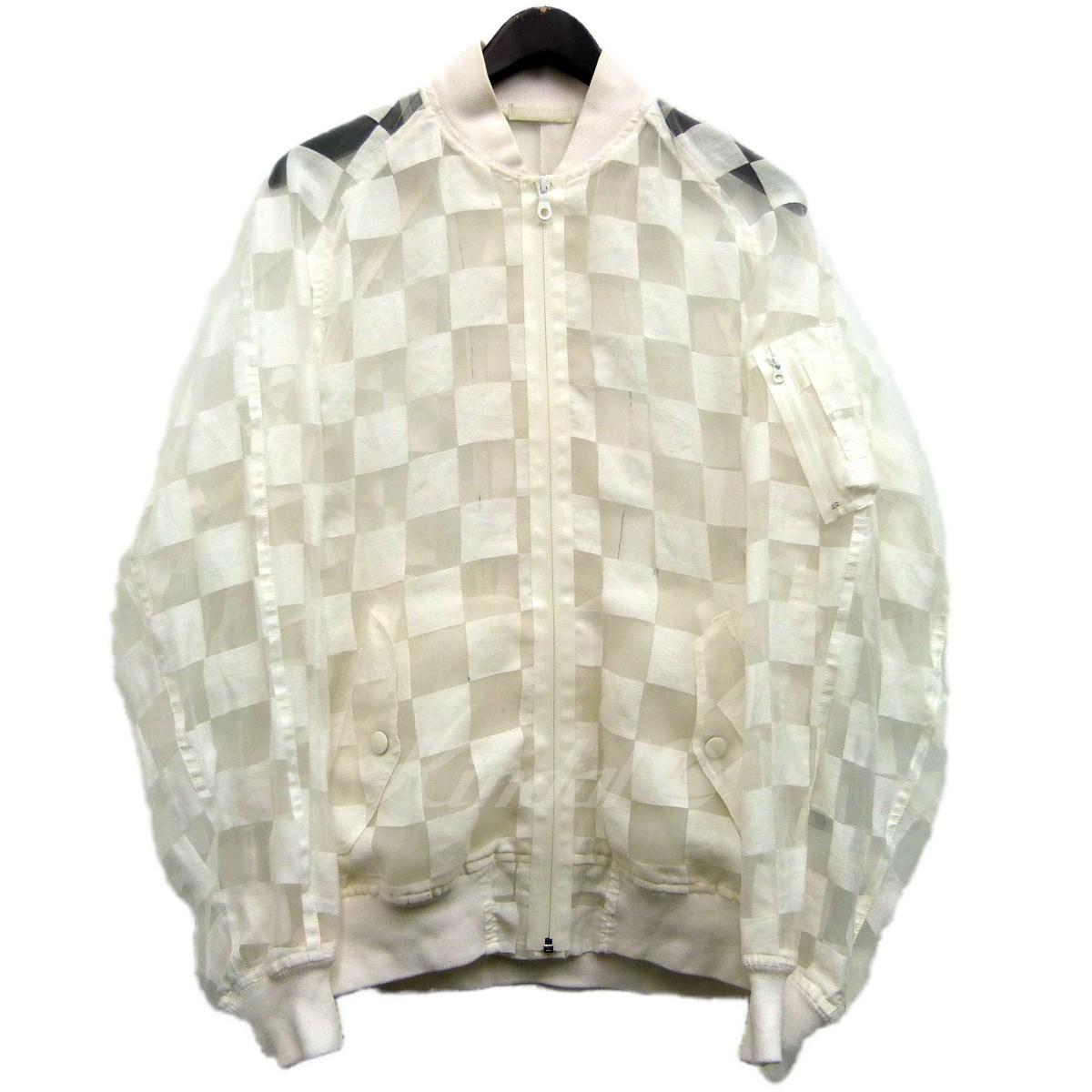 【中古】FACETASM SAMPLE品 ブロックチェックボンバージャケット ホワイト サイズ:S 【130519】(ファセッタズム)