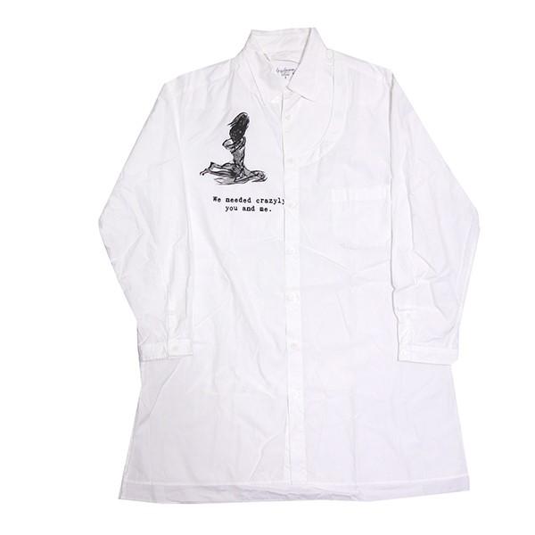 【中古】YOHJI YAMAMOTO 2019SS 左胸開き プリント ロング ボタンシャツ シャツ ホワイト サイズ:2 【130519】(ヨウジヤマモト)