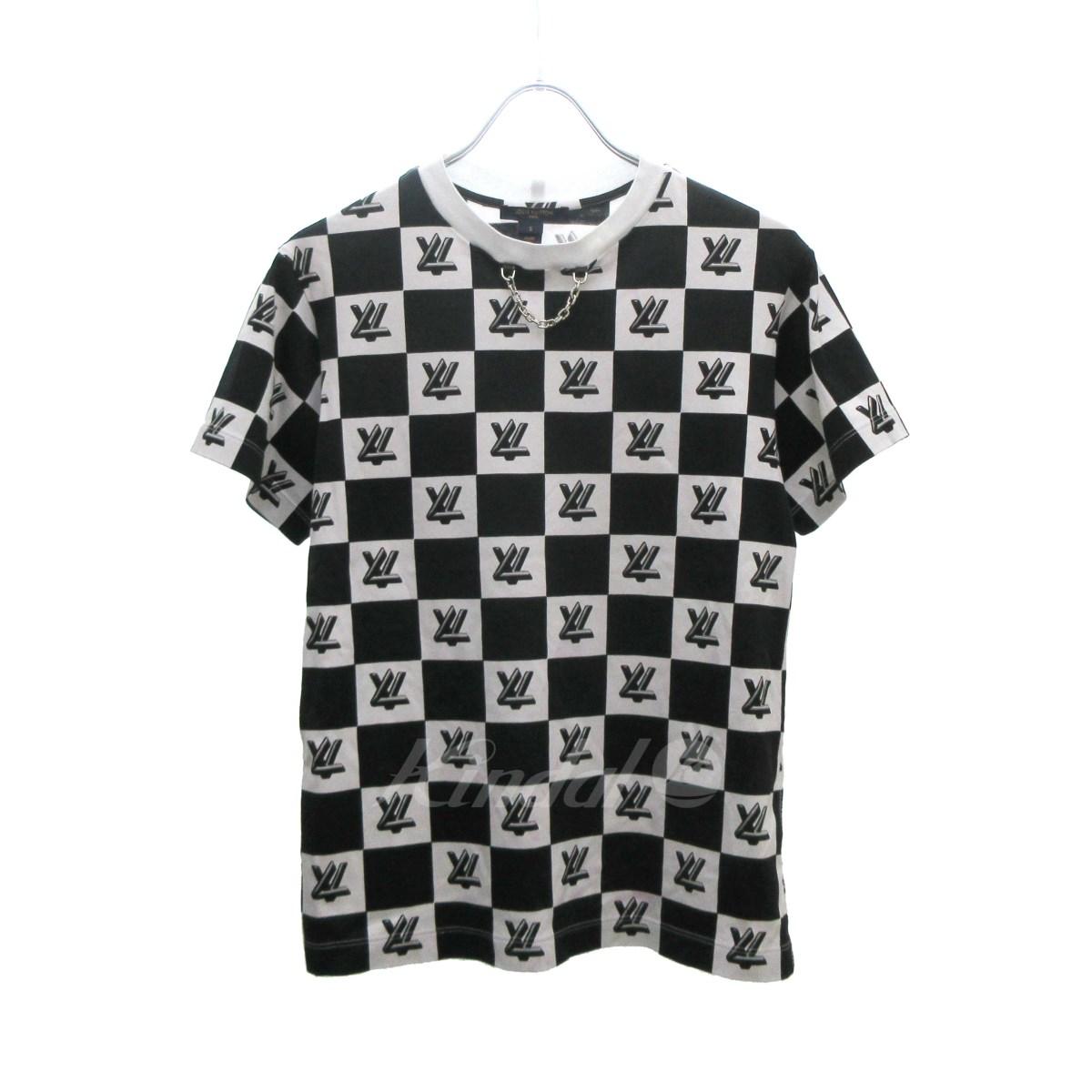 【中古】LOUIS VUITTON LVロックツイストプリントTシャツ 2018S/S ホワイト×ブラック サイズ:S 【140519】(ルイヴィトン)